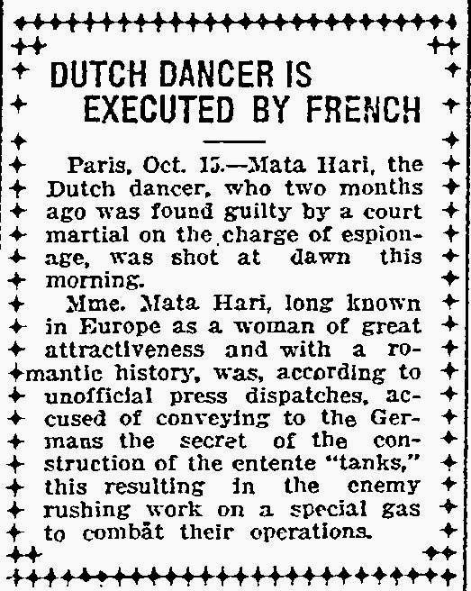 Mata Hari Executed as Spy Oct. 15, 1917