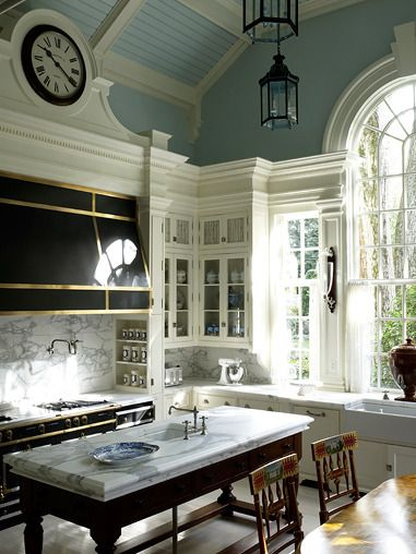 Anthony Baratta: Beautiful Kitchens, Marble, Kitchens Design, Dreams Kitchens, Window, Traditional Kitchens, Color, Clock, Blue Ceilings