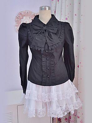 Blouse/Shirt Klassiek en Tradtioneel Lolita Prinses Cosplay Lolita Jurken Zwart Kant Lange Mouw Lolita Blouse Voor Dames Polyester