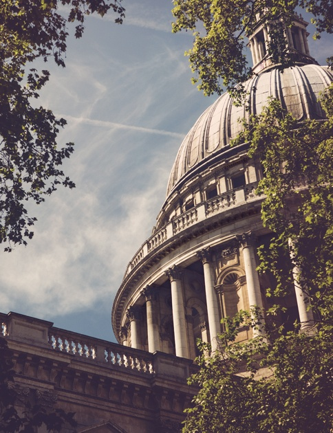 Sunny skies over St Paul's Cathedral in London