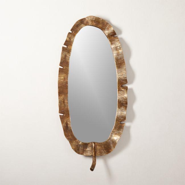 Palm Leaf Mirror Reviews Cb2 Handmade Mirrors Mirror Wall Modern Mirror Wall
