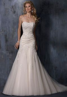 Strapless Tulle Fit N Flare Dropped With Beading Floor Length Wedding Dress#A3101072