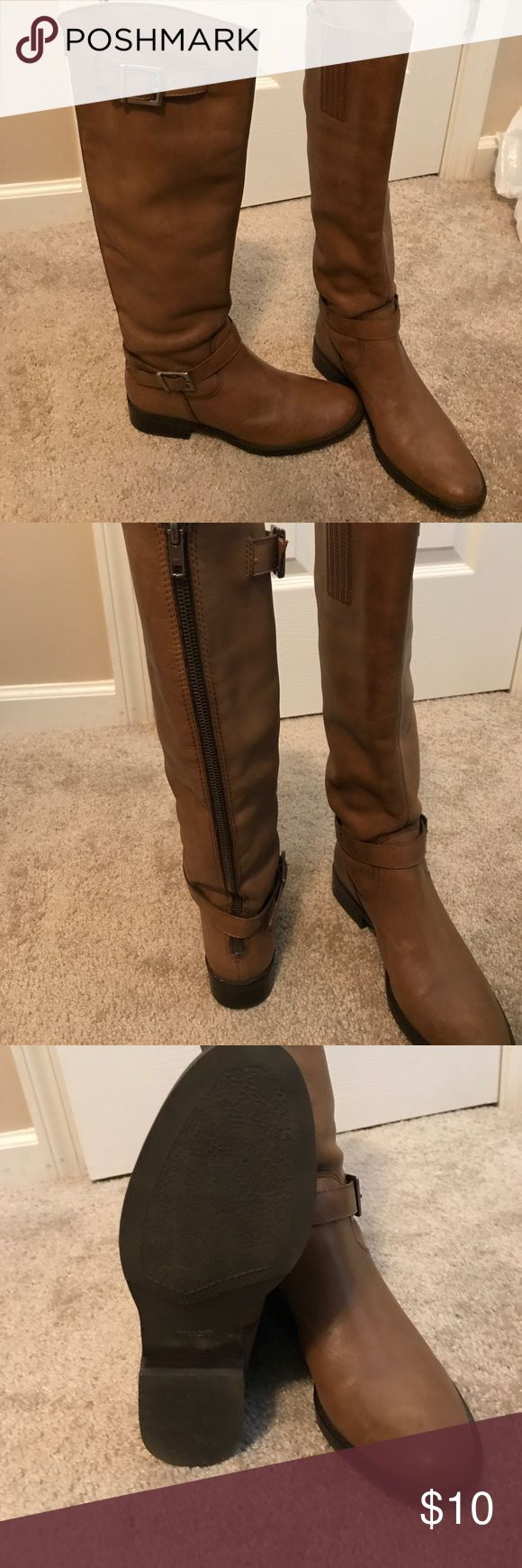 NWOT zip up brown boots Size 5 1/2 brown zip up boots. Never worn before! Shoes Combat & Moto Boots