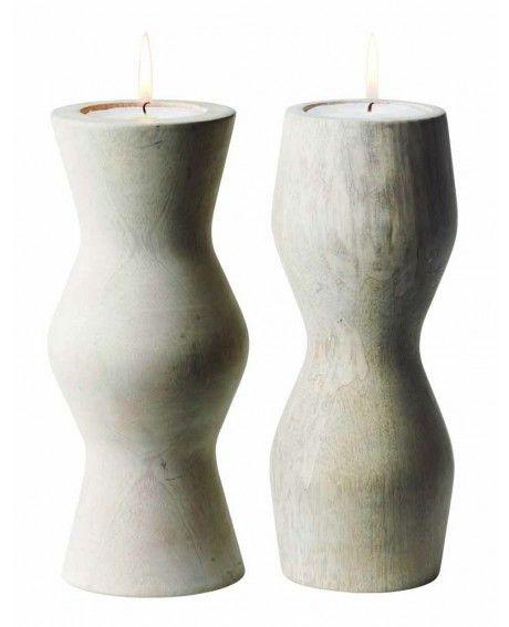 Herstal Kindra kynttilänjalka 2 kpl setti valkoinen mango