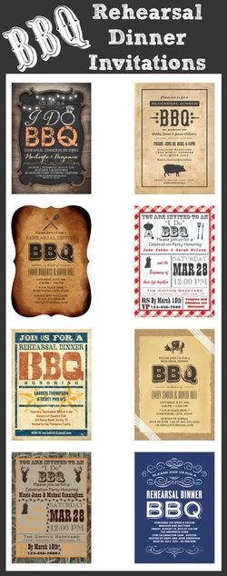 BBQ Rehearsal Dinner Invitations #wedding