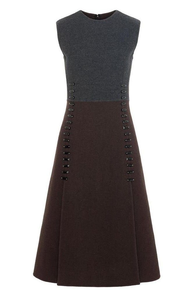Marc Jacobs Worsted Wool Sleeveless Crew Neck Dress in Chocolate/ Grey