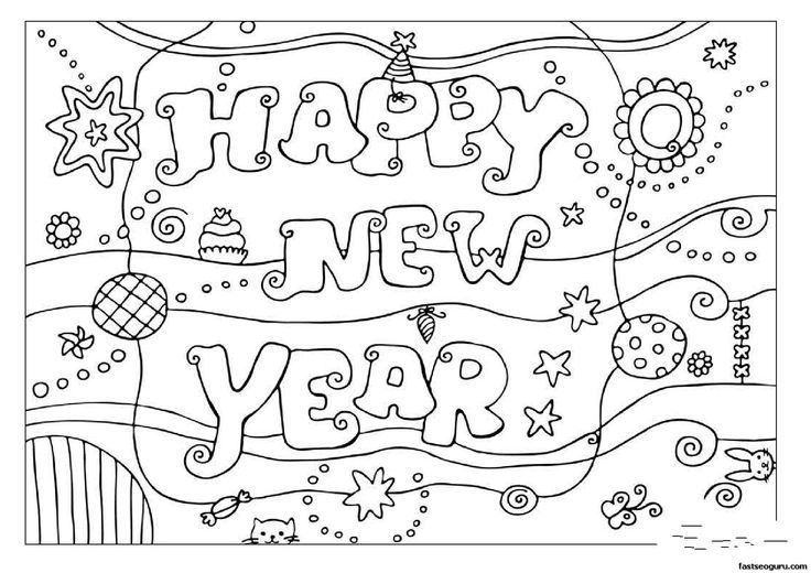 new year's coloring pages | ... coloring pages Happy New Year 2013 - Printable Coloring Pages For Kids