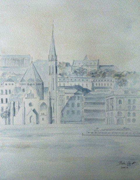 Budapest, Képzőművészet , Festmény, Akvarell, Napi festmény, kép, Meska