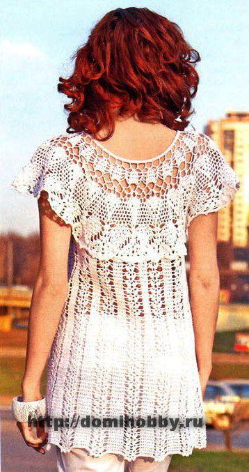 White crochet long shirt Кофточка с кружевной кокеткой. Обсуждение на LiveInternet - Российский Сервис Онлайн-Дневников