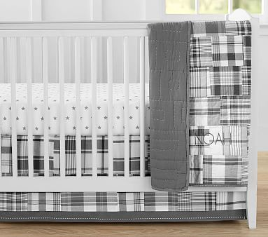 Madras Nursery Quilt Set with Gray Star Crib Fitted Sheet