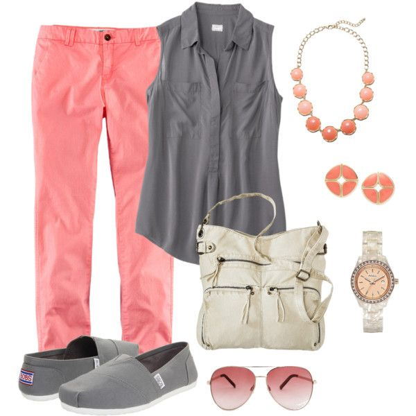"""Teacher Outfit- Coral  Gray"" by chuncoa on Polyvore"