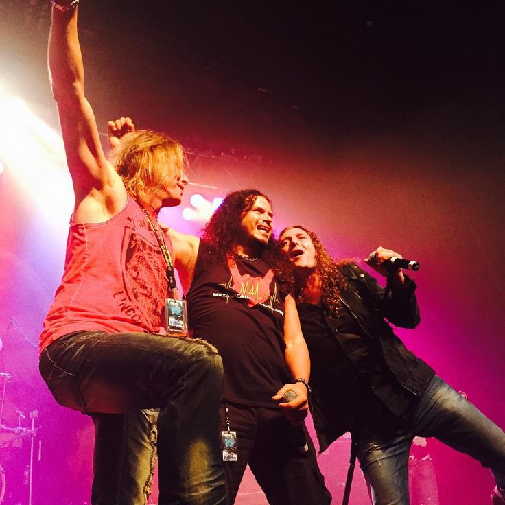 """DC Cooper, Jeff Scott Soto and Fabio Lione on stage with Angra closing this edition of ProgPower USA by performing """"You Really Got Me"""" on 12/09/2015. Pic by Infinity Concerts."""