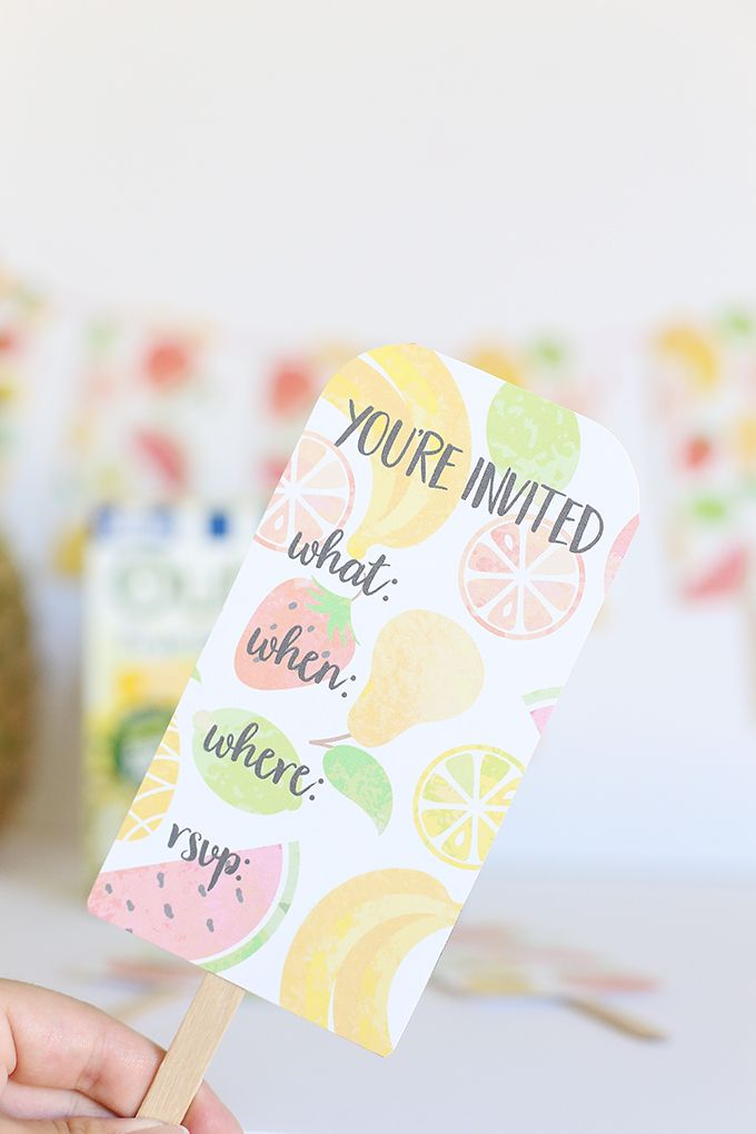 Printable Fruit Popsicle Party Invitations - perfect for a summer pool party!