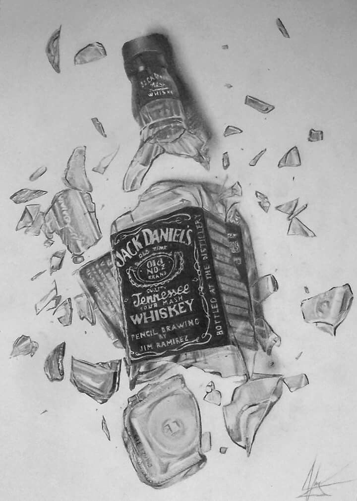 Jack Daniels broken bottle realistic pencil drawing