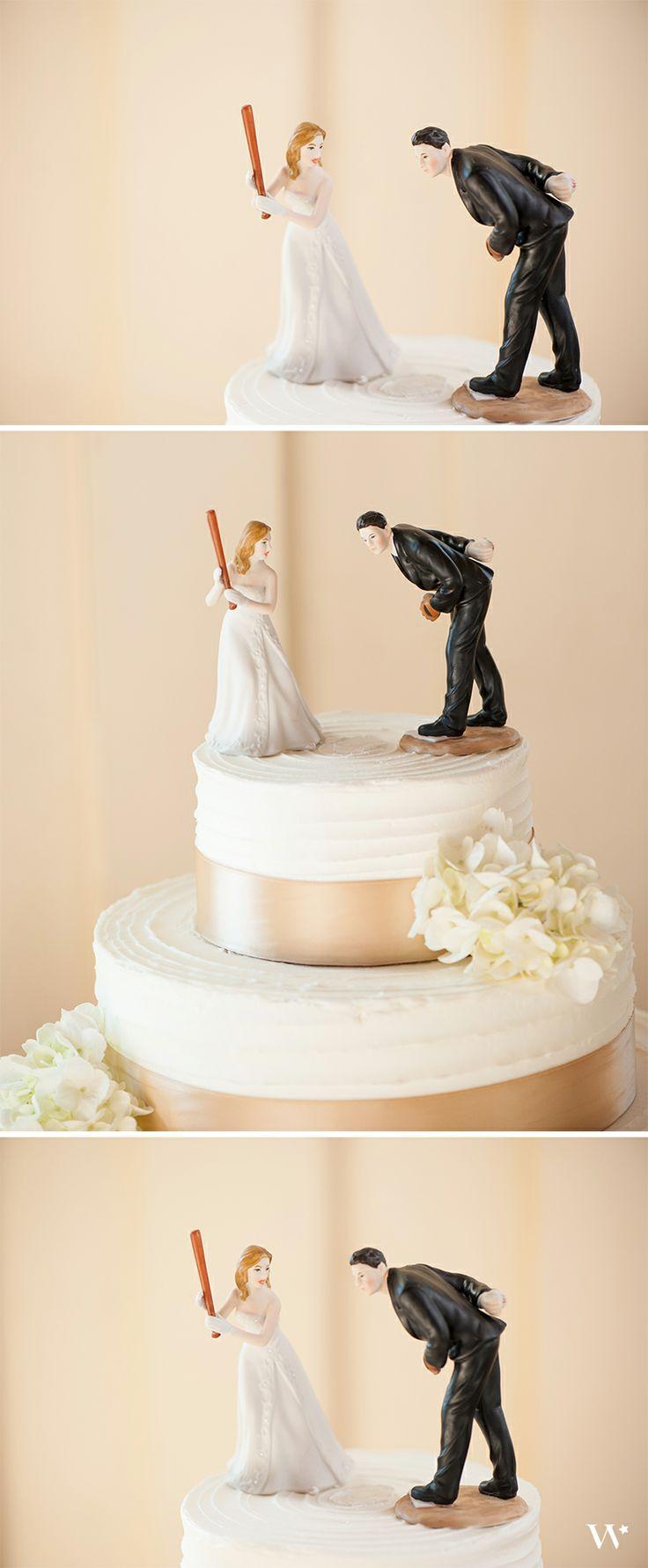 baseball wedding cake topper hit a home run