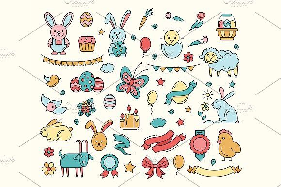 Easter - Cartoon Icons Set. Pet Icons