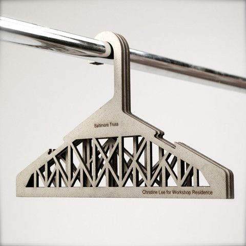 Christine Lee designed these coat hangers featuring the core set of 8 bridge truss designs young architects and engineers must learn.    Press molded from 100% recycled fiber material developed by Christine Lee and John Hunt at The USDA Forest Products Laboratory.