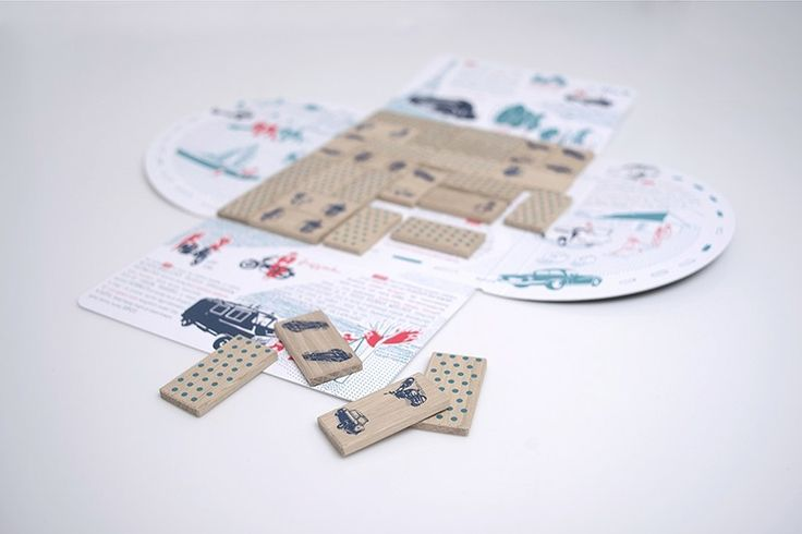 Dominoes are minimalistic in their design, with images of Polish vehicle design icons printed in monochrome, and blue polka dot pattern on the reverse. The set was created in collaboration with the design critic Krystyna Łuczak-Surówka and the illustrator Marta Taraszkiewicz, photo courtesy the designers