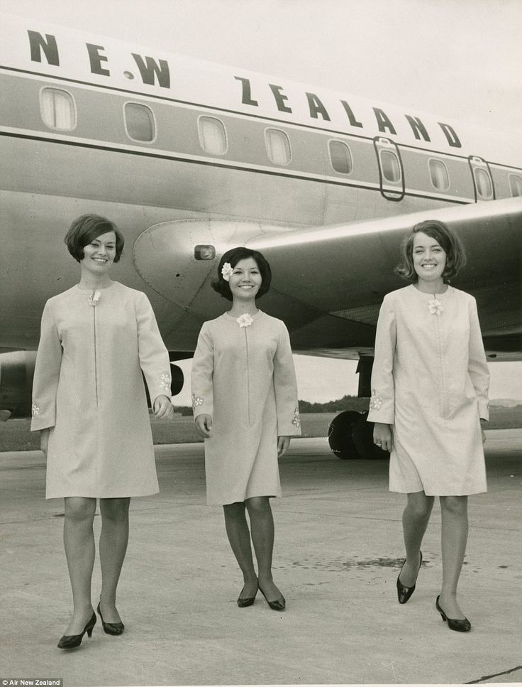 Flight attendants in their kaftan uniforms; TEAL became known as Air New Zealand in 1965 after it was bought out by the government