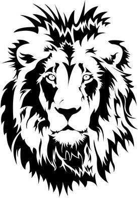 Amazing Lion Stencil! Great Cameo Art -PNG