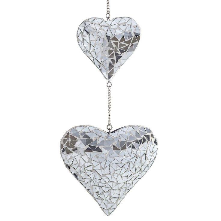 Silver Mosaic Mirror Hanging Suncatcher Duo Heart Mobile Home Garden Ornament #Gardens2you #Contemporary