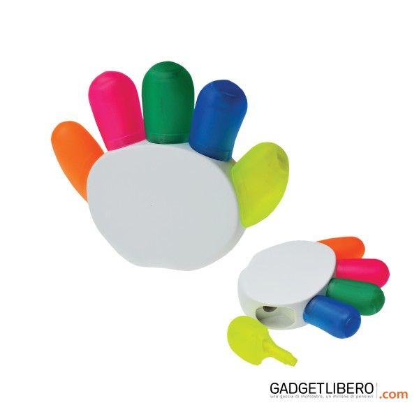 """[Scrittura personalizzato] Olga Evidenziatore """"Mano"""" 5 colori. Disponbile nei colori Bianco, Trasparente"""