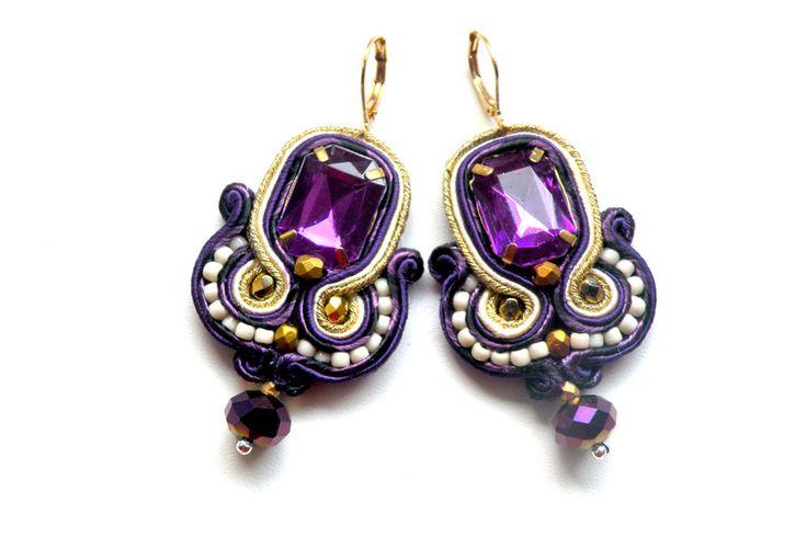Kolczyki sutaszowe - Purple - sutasz - soutache - Bajobongo - Kolczyki wiszące