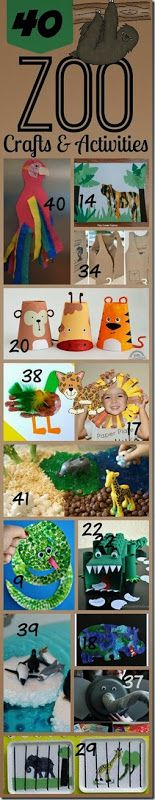 40 Zoo Animal Crafts and Activities for Toddler Preschool Kindergarten and beyond. LOTS of really cute, clever, and unique ideas!