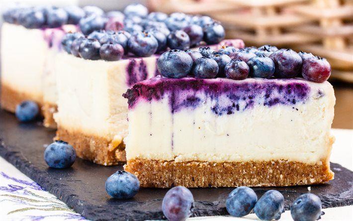Scarica sfondi cheesecake, torta, mirtillo, frutti di bosco, dolce