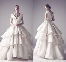 Vintage oriente medio vestidos del hombro 2015 de lujo Tiers Appliqued mancha de la boda vestidos vestido de bola vestidos de novia()