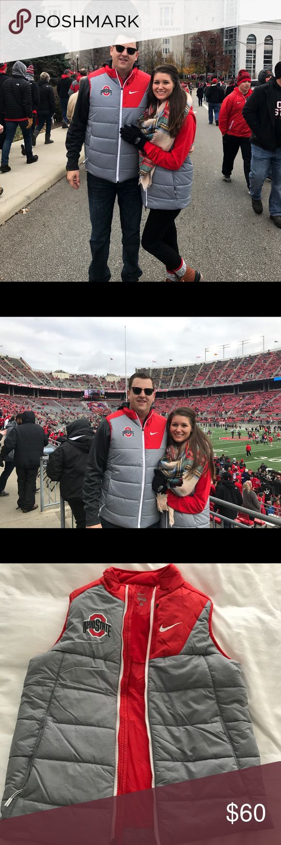 Small (men's/unisex fit) Ohio state Nike vest Worn once for the OSU vs Michigan game. Small (men's/unisex size) but I wore it - just oversized fitting not fitted like a women's size small Nike Jackets & Coats Vests