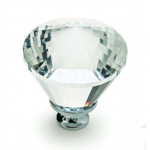Diamond Cut Knob Glass - Brushed Satin Nickel - 40mm GELMAR R41.99