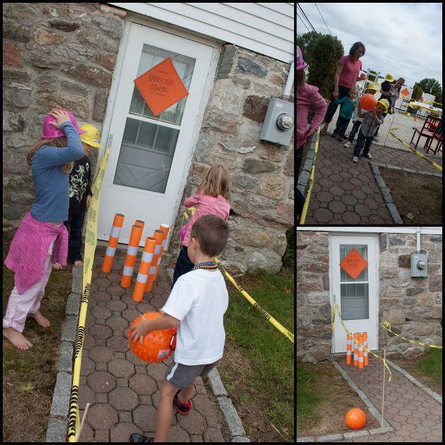 Construction Birthday {party idea} | The Creative MomThe Creative Mom--Barricade Bowling, Wrecking Ball