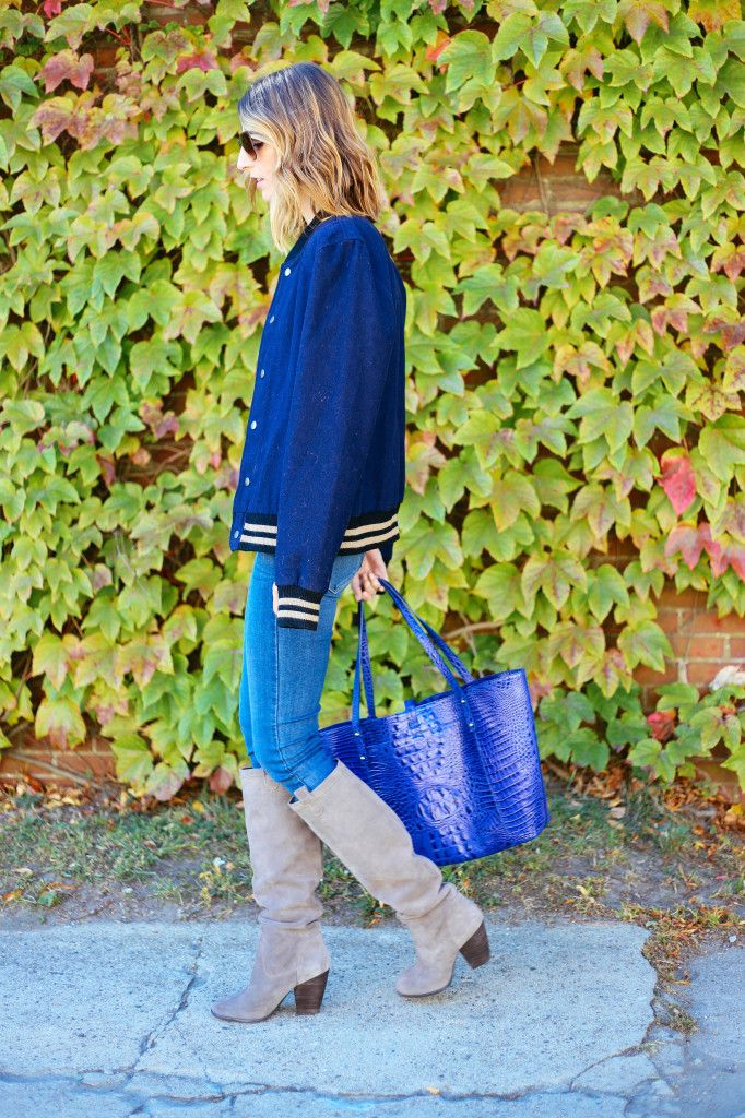 Navy wool bomber jacket, @paigedenim skinny jeans and gray suede @solesociety boots with the Brahmin All day tote #style #fall