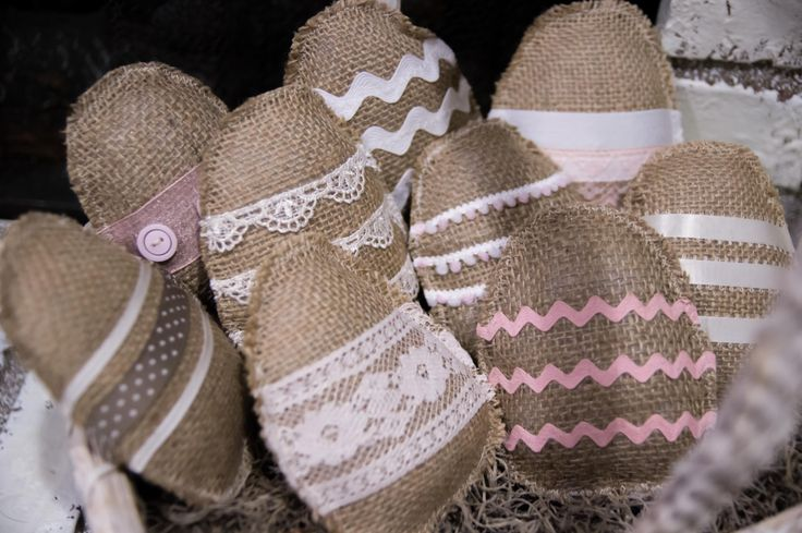 Burlap & Lace Easter Eggs
