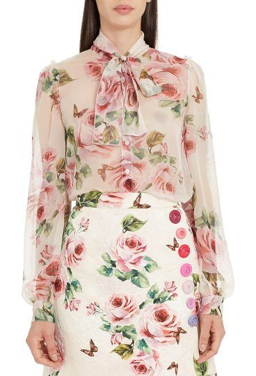 2b50411b94f13e sheer rose print silk blouse by Dolce  amp  Gabbana. Airy silk chiffon  patterned with