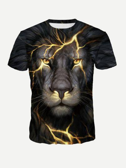 Camiseta con estampado Lion de hombre  dff100442ac83