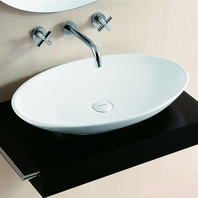 Lux-aqua Badmöbel Waschtisch Keramik Waschbecken Aufsatzbecken Oval 40148