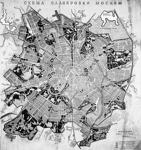 map of moscow - 1930-1950