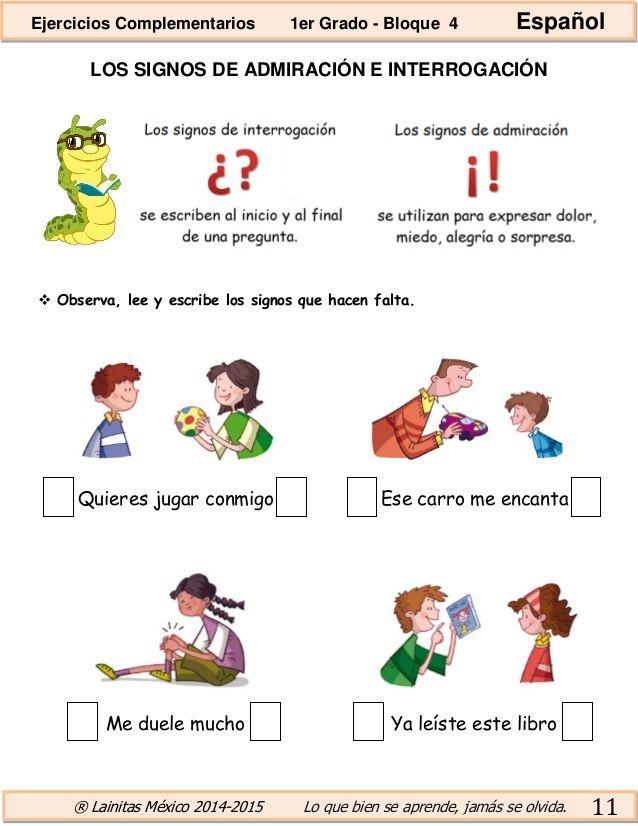 Pin De Giovanni Morocho Lopez En Español Oraciones Para Niños Los Signos De Admiracion Signo De Interrogación