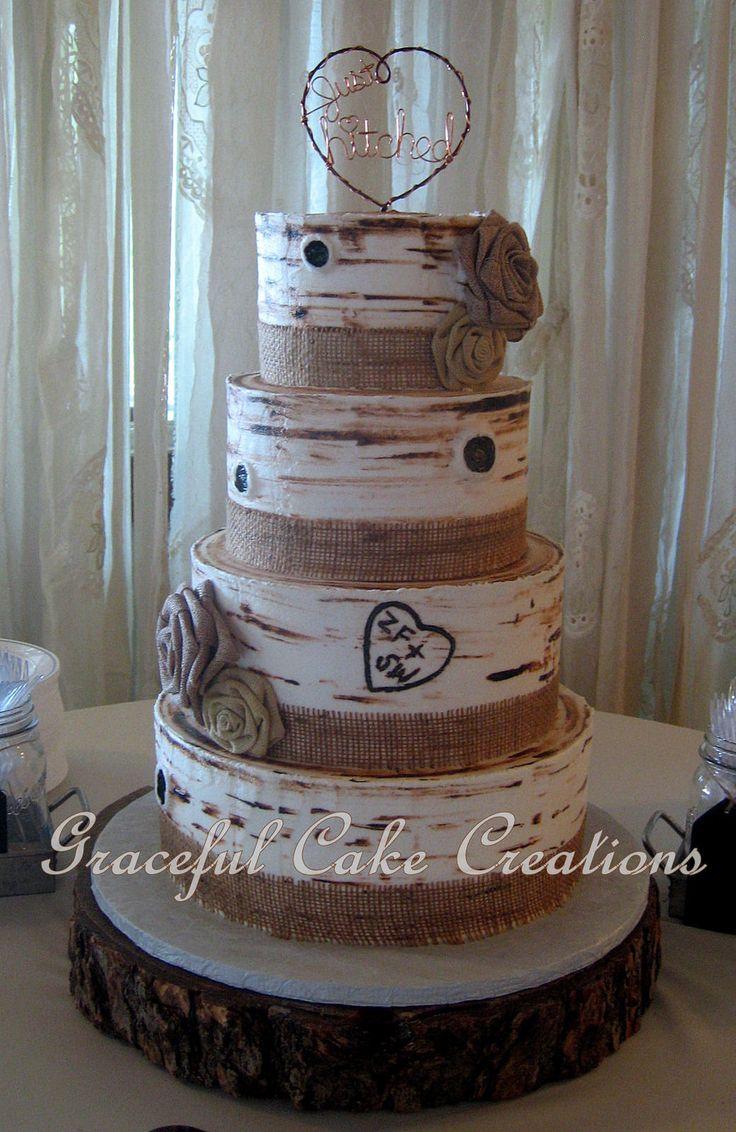 https://flic.kr/p/yg2Mbq | Rustic Butter Cream Iced Birch Bark Wedding Cake with Burlap Ribbon and Burlap Roses