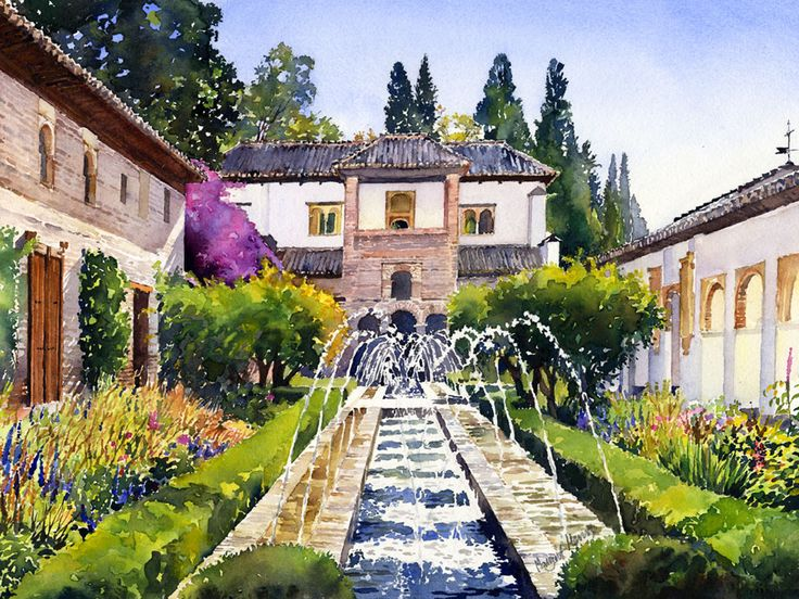 I painted this lovely garden in the Generalife Palacenear the Alhambra, Granada in thesummer. It is such an attractive subject that I thought I would return to it to paint in autumn light and col...