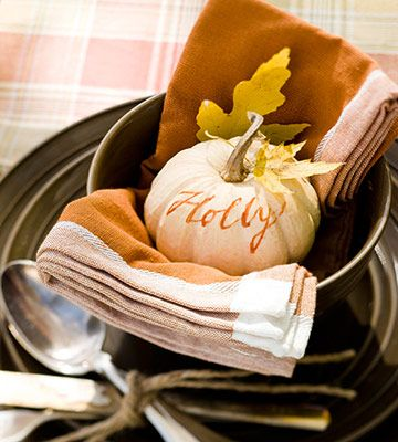 This would be a lovely place setting for a Thanksgiving/Fall gathering. Small pumpkins with each guests name ~ tea towels for napkins, etc. So comfortably casual and inviting.