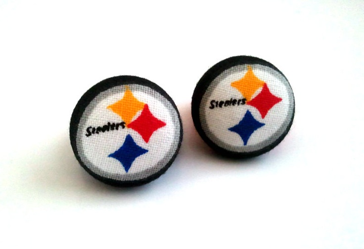 Pittsburgh Steelers symbol black and yellow button earrings. $6.50, via Etsy.