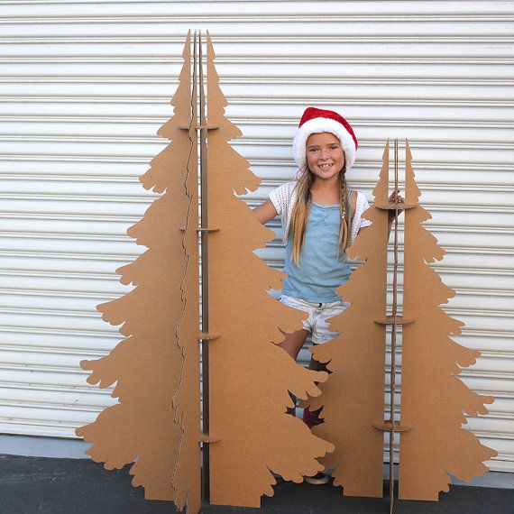 4 ft and 5 ft Tall Recycled Cardboard Christmas by MettaPrints