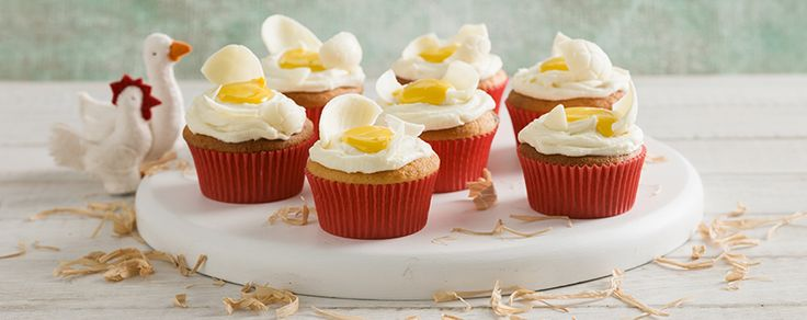 Lemon flavoured sweetened condensed milk makes these delicious cupcakes look like egg yolk and cracked eggs.
