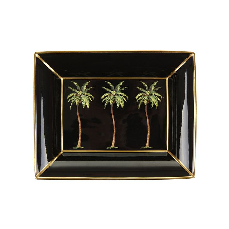 Be transported to a tropical island with this Palm trinket tray from Halcyon Days. On a black background, this tray is decorated with a whimsical palm tree design and is made from fine bone china. ...