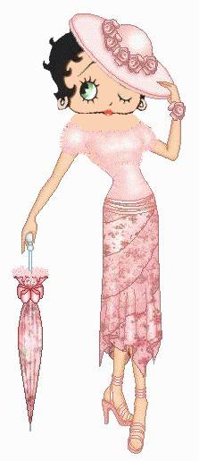 Betty Boop vestida en rosa guiñando el ojo