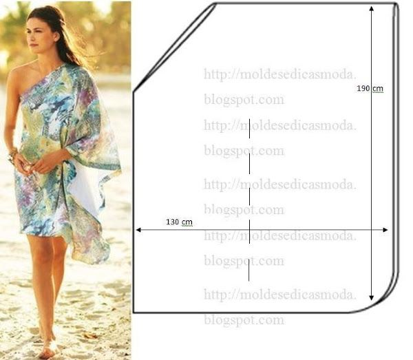 One Shoulder Drape Dress Pattern