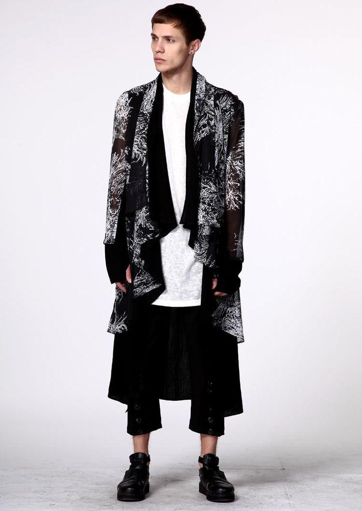 2017  Male cardigan mantissas long-sleeve outerwear personalized long design ruslana korshunova fluid top thin trench